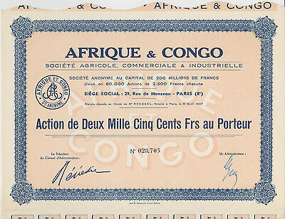 1907 Afrique & Congo Bond Paris with Coupons Nice