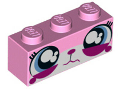 LEGO - Brick 1 x 3 with Cat Face Wide Eyes Watering (Sad Unikitty) - Pink