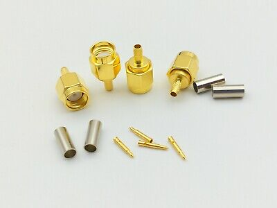 100pcs Gold plated SMA male crimp for RG174 RG179 RG316 RG188 adapter