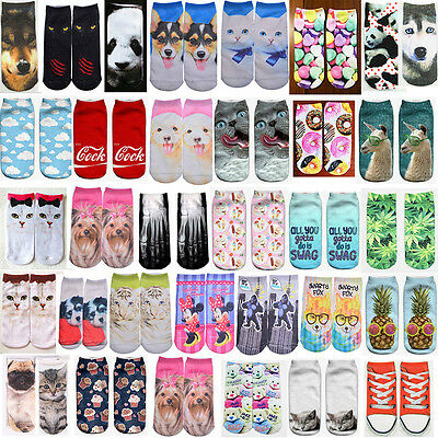 Men Women Fashion Low Cut Ankle Socks Cotton 3D Printed Fashion Japanese Style