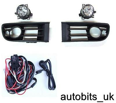 Front Fog Lights Grille Lamps For Vw Polo 9N1 Hb 2001-2005 E-Mark + Wiring Kit