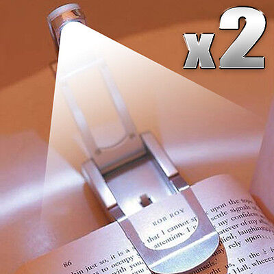 2 X LED Clip Light Robotic Reading Book E-Reader Kindle Flexible  Lamp Booklight