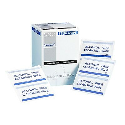 200 x Steroplast Alcohol Free Cleansing Wound Care Wipes - Expiry date 2020