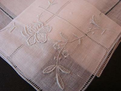 Vintage Linen Wedding Wedding Handkerchief Pale Blue Embroidery Something Blue