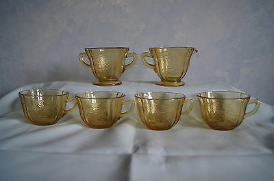 Federal Glass Madrid lot 4 cups sugar creamer amber yellow depression glass GUC