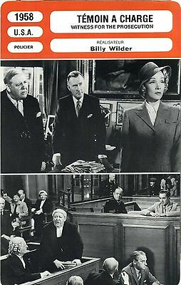 Fiche Cinéma. Movie Card. Témoin à charge / Witness for the prosecution USA 1958