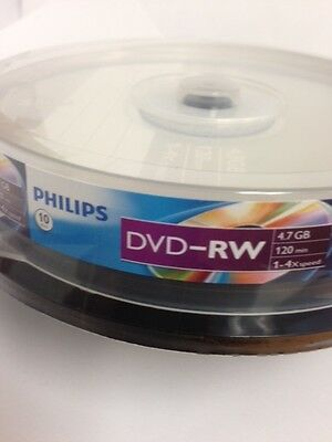 10-pk Philips 4x DVD-RW Rewritable 4.7GB Blank Recordable DVD-R DVD Media Disk