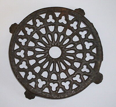 "Antique Original Cast Iron Round Pierced Trivet -Lantz- 5.25"" dia. w/ Claw Feet"
