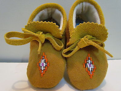 New, Native American Baby Moccasins, Unisex, 5.2 Inches Long, Tan Leather