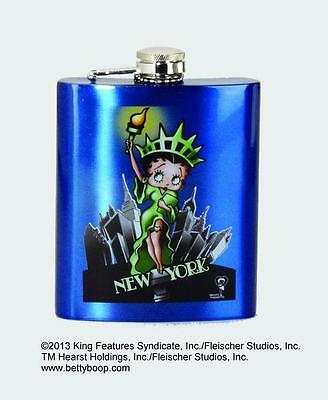 Betty Boop New York Liberty Stainless Steel Blue Hip Flask with Funnel 15760