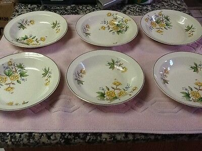 """Lot of 6-Taylor Smith Taylor Versatile Wt?Yellow Daisy Green Leaf  8""""Salad Bowls"""