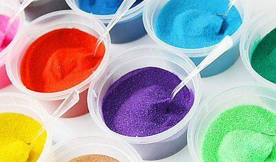 A set of 12 coloured Sand x 80g (sand art wedding decorations) FreeExpress Post