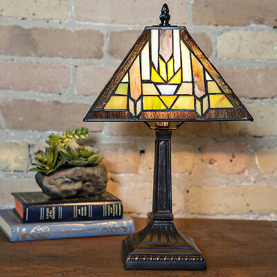 15.5inch H Stained Glass Mission Style Santa Fe Table Lamp