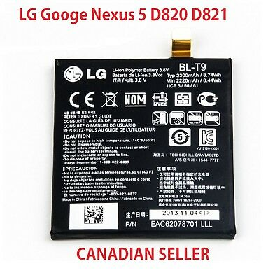 New 100% OEM Battery For LG Nexus 5 Google 5 BL-T9 BL T9 D820 D821 2300Mah