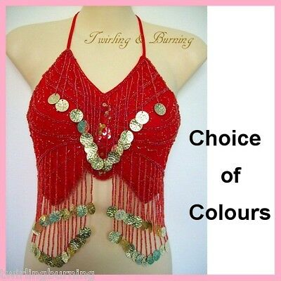 Belly Dance Beaded Butterfly Top Bra Coin Bollywood Lace-up Dancing Costume AT04