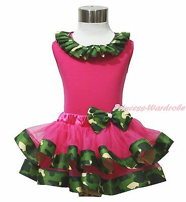 Hot Pink Top Shirt Camouflage Lacing Satin Trim Girl Pettiskirt Outfit Set NB-8Y