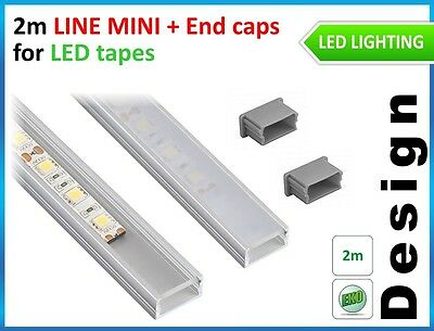 LED PROFILE LINE MINI for LED STRIPES 2m aluminium + 2 end caps / top quality
