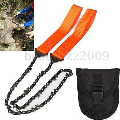 Survival Chain Saw Hand ChainSaw Emergency Camping Gear Pocket Kit Tool Pouch