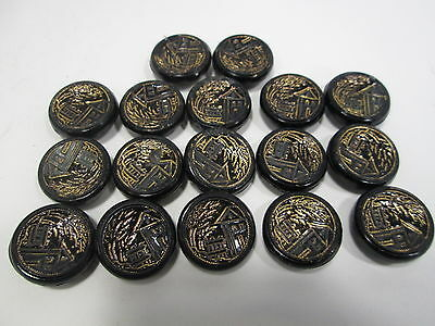 17 Antique Black Glass & Gold Luster Picture Buttons- House Scene