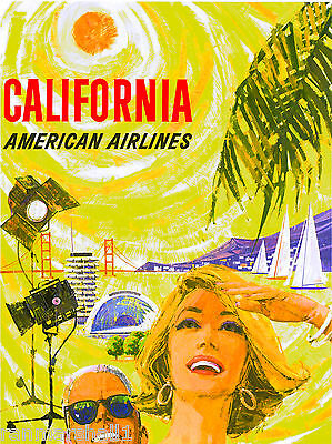 Southern California Beaches 2 Vintage United States Travel Advertisement Poster