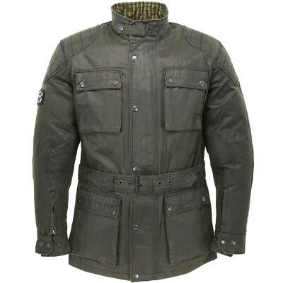 Oxford Heritage Wax Waxed Cotton Textile Motorcycle Jacket - Olive