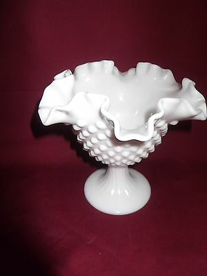 Fenton White milk glass compote candy dish hobnail fluted edge pedestal