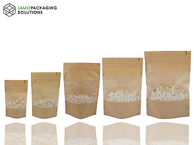 Kraft Paper Window Extra Thick / Lasting Stand Up Plastic  Sealable Pouch