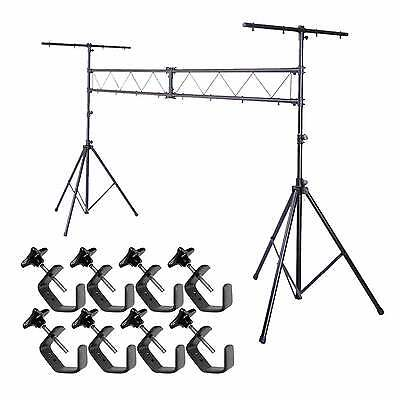 10FT Mobile DJ Lighting Truss Stand Stage Light System W T Bar Clamps