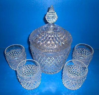 Indiana Glass Diamond Point Ice Bucket / Cookie Jar & 4 Old Fashioned Tumblers