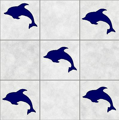 24X DOLPHIN tile stickers BATHROOM  WALL ART  DECOR DECAL KITCHEN toilet