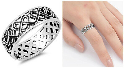 .925 Sterling Silver 7Mm Oxidized Twisted Celtic Heart Design Ring Sizes 5-14