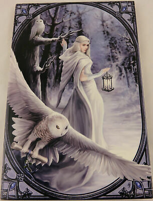 "Anne Stokes ""Midnight Messenger"" Large Ceramic Art Tile Gothic Fantasy"