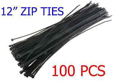 "100 PCS Pack 12"" inch Network Cable Cord Wire Tie Strap 60 Lbs Zip Nylon Black"
