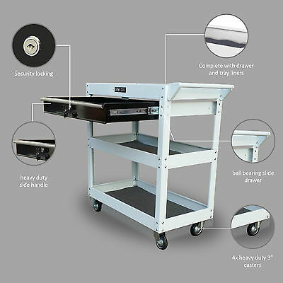 206 Us Pro Tools Tool Cart Box Steel 1 Drawer Trolley Workstaion White + Black