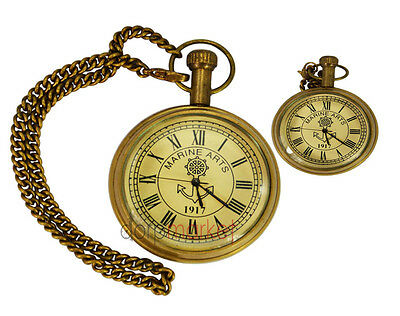 Handmade Vintage  Shiny Brass Pocket Watch With Long Chain