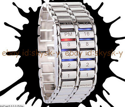 Fashion Men's Women Luxury Stainless Steel Sport Date Digital LED Bracelet Watch