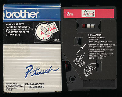 1x ORIGINAL BROTHER TC-002 P-touch Farbband Red / clear für PT-6/8/10/500/2000