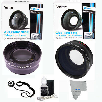 58MM .43X Wide Angle  2.2X Telephoto Lens for CANON REBEL T6 T3 T3I SL1 T4I DHD