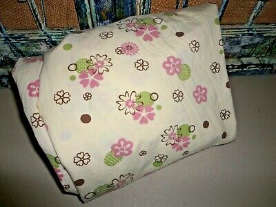 Cocalo Baby Fitted Crib Sheet Pink Green Brown Cream Floral Nursery