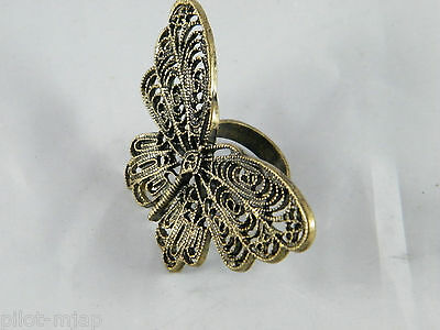 """Vintage ~ Large 2-1/2"""" Across Butterfly Ring ~  Intricate Brass Design"""