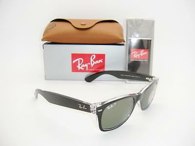 New Authentic Ray-Ban New Wayfarer Black / Green Polarized Rb 2132 6052/58 52Mm