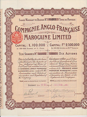 1911 Morocco Compagnie Anglo-Francaise Marocaine Limited 10 Shares Nice
