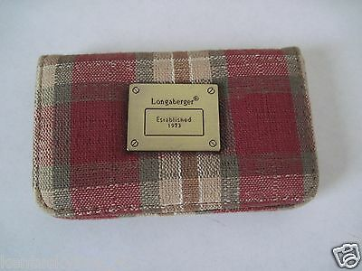 Longaberger Orchard Park Plaid Business Card Case w/Logo Emblem