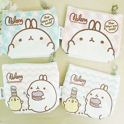 [Molang #shop] Cute Molang Pastel Fabric Mini Pouch 4 Kinds New