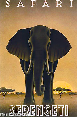 Tanzania Serengeti National Park Africa Elephant Travel Poster Advertisement