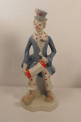 "Vintage Original  Artmark Clown Figurine with Accordian Squeeze Box  10"" Tall"