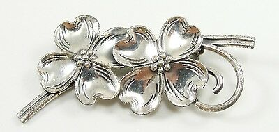 Vintage Beau Sterling Silver Dogwood Flower Pin Brooch Floral 2-1/8""