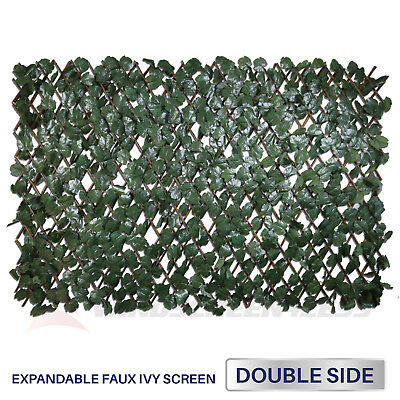 Expandable Artificial Faux Ivy Leaf Privacy Fence Screen Windscreen Double Side