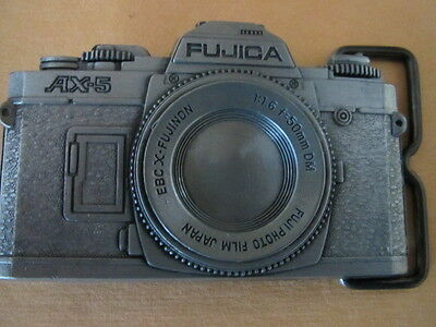 VINTAGE 1970s **FUJICA AX-5 CAMERA** PHOTOGRAPHY PEWTER BELT BUCKLE R.J