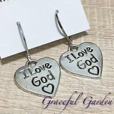ER2823 Graceful Garden Vintage Style I Love God Heart Dangle Leverback Earrings
